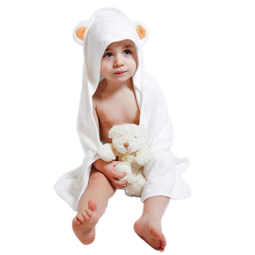 Bamboo Hooded Towel | Made from Organic Bamboo | Extra Soft & Quickly Dries Babies Sensitive Skin | Best Baby Shower Gift for Girl, Boy or Newborn | Premium Bath Towels with a Cute Animal Hood Pure Mom