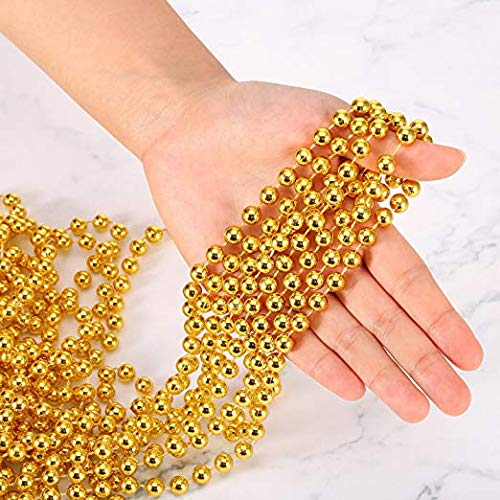 U-House 31 Feet Christmas Beaded Garland Shiny Beads Strand for Christmas Tree, Valentine, Exhibition, Wedding, Costume, DIY Decoration (Gold-31ft)