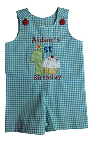 JustBabyz Baby Boy's First Birthday Outfit - Made in USA (12-18 mos Shortall)