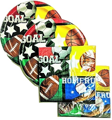 Sports Themed Party Supply Pack - 36 Plates and 40 Napkins - Baseball, Football, Soccer, Basketball -