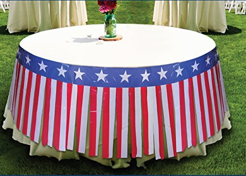 Fourth of July Red, White and Blue Round Table Skirt, 14 feet