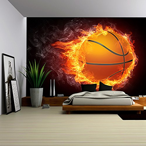 wall26 - Basketball Ball on Fire. 2D Graphics. Computer Design. - Removable Wall Mural | Self-adhesive Large Wallpaper - 66x96 - Designs Mural