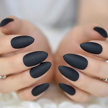Amazon Com Matte Stiletto False Fake Nails Pure Burgundy Black