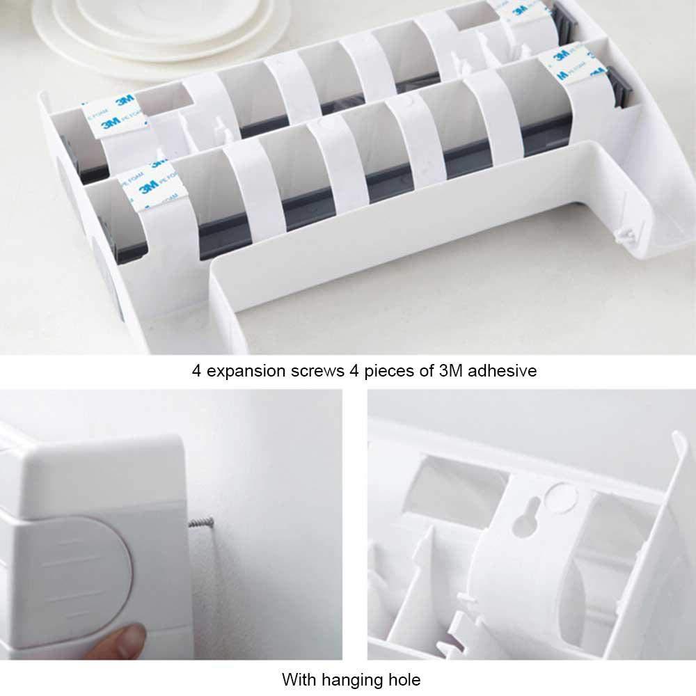 FOONEE 4-in-1 K/üchenrollenhalter Folienspender Handtuchhalter 39 x 10 x 24 cm Khaki Wandmontage