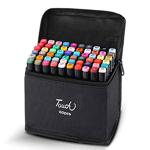 Hbwz Graphic Marker Pens, 60 Colors Dual Tips Permanent Marker Pens Art Markers for Kids, with Gift Pakage,AnimeEdition