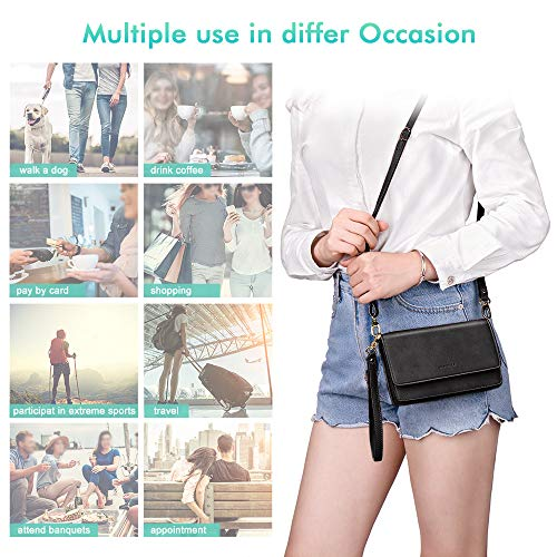 Max 6.5 phone nuoku Women Small Bag Crossbody Mini Cell phone Purse Large Capacity Wallet Pouch Clutch Bags with RFID Card Slots Shoulder Strap Wristlet for Lady Girl