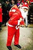 Christmas Santa Claus Costume Adult Deluxe Plush Christmas Santa Claus Suit Costume 6pcs Size M to L