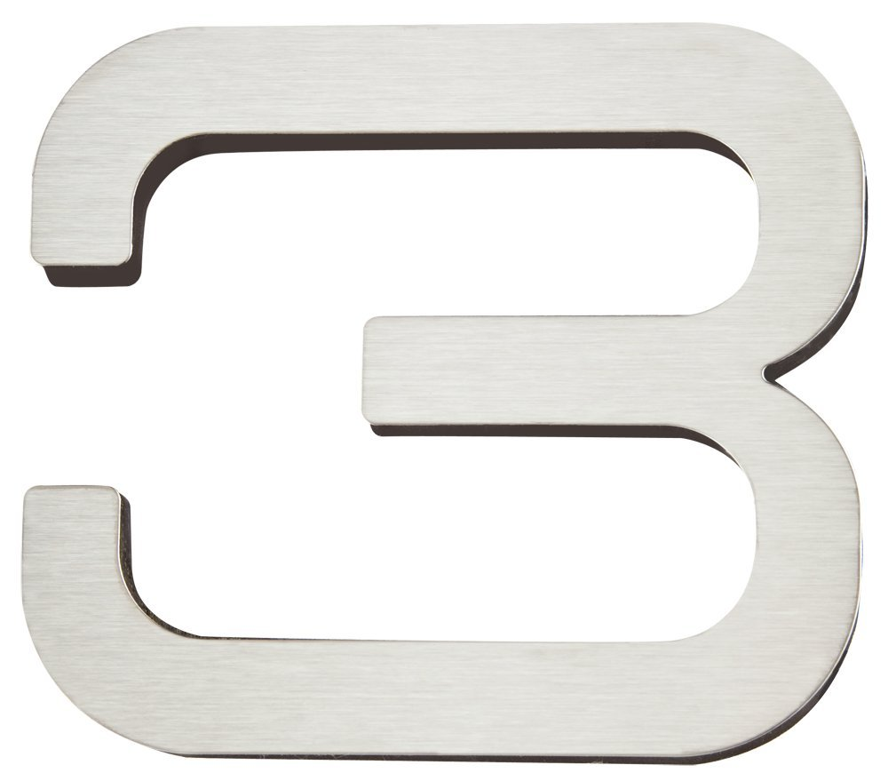Atlas Homewares PGN3-SS 4-Inch Paragon House Number-3, Stainless Steel
