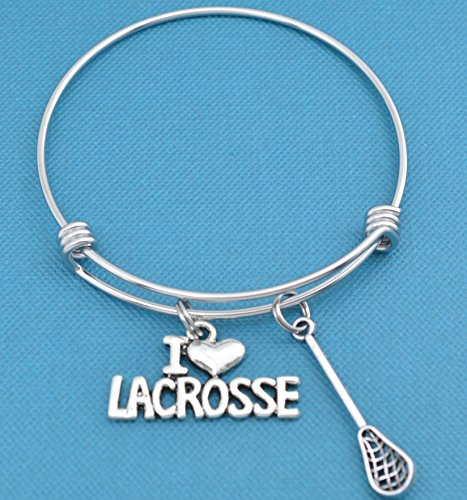 I Love Lacrosse bracelet in stainless steel with silver toned metal lacrosse stick and I love lacrosse charm in silver metal.