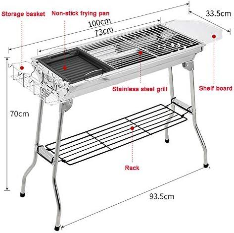 TFACR Barbecue Portable au Charbon de Bois - Barbecue Pliable pour 5-10 Personnes, Barbecue en Acier Inoxydable pour Pique-Nique en Plein air
