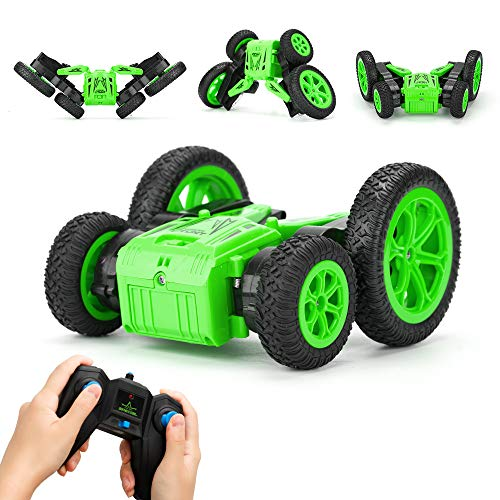 (RC Cars for Kids JOMOTECH Rc Stunt Car Remote Control Car 360 Rotating Off Road Double Sided Rotating Tumbling High Speed Rock Crawler Vehicle with Headlights Children Birthday Gifts-Green)