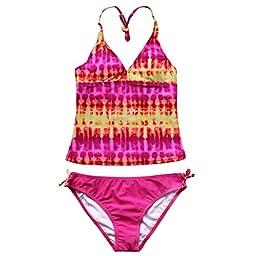 iEFiEL Girls Gorgeous Tie-Dye Tankini Top Swim Briefs Beach Wear Bathing Suit (10, Pink)