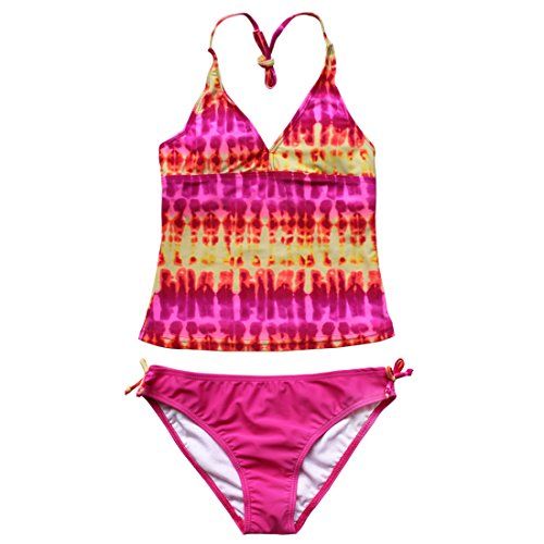 iEFiEL Girls Gorgeous Tie-Dye Tankini Top Swim Briefs Beach Wear Bathing Suit (16, Pink)