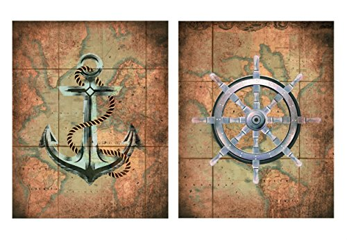 wallsthatspeak Set of 2 Nautical Old World Map Anchor Wheel Sailing Ocean Wall Decor Art Prints 8x10 Inches from wallsthatspeak