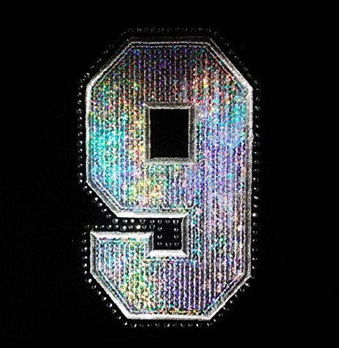 9 (Nine) - Number - Silver - Sequin and Rhinestone Iron on Transfer
