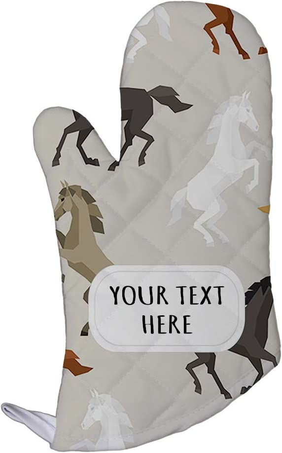 Polyester Oven Mitt Custom Colorful Horses On Grey Seemless Pattern Adults Kitchen Mittens