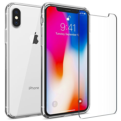 iPhone X Clear Case, FlexGear 360 [AuraX] Hard Back TPU Bumper + Glass Screen Protector (Slim Back Protector Case)