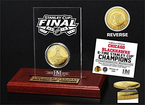"""NHL Chicago Blackhawks 2015 Stanley Cup Champions Etched Display Mint Coin, 8"""" x 4' x 1"""", Gold"""