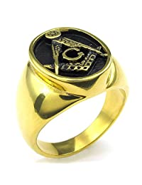 Konov Jewelry Mens Stainless Steel Ring, Freemason Masonic, Gold Black, with Gift Bag, C23751