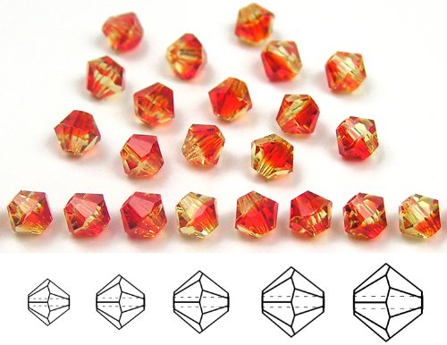 6mm Fire Opal, Czech MC Rondell Bead (Bicone, Diamond Shape), 1 gross = 144 pieces