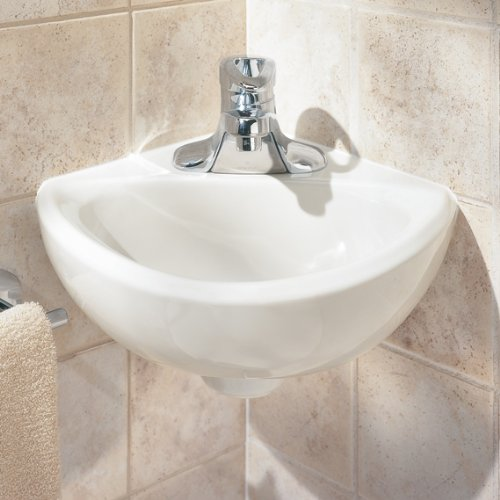 033056045381 - American Standard 0451.021.020 Corner Minette Wall Hung Corner Sink with Faucet Holes On 4-Inch Centerset, White carousel main 1