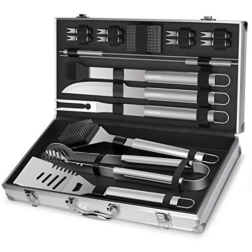 Professional BBQ Grill Utensils w/ Storage Case (18-Piece Set) Stainless Steel Barbecue Tools | Outdoor Cooking Accessories | Spatula, Tongs, Cleaning Brush, Baster & More by KANGORA (Guy Gifts)