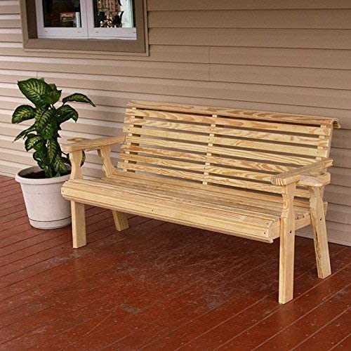 CAF Amish Heavy Duty 800 Lb Roll Back Pressure Treated Garden Bench with Cupholders 4 Foot, Unfinished