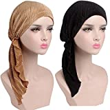 MuYiTai Womens Chemo Caps Turban Headwear Cancer Pack of 2 Black, Gold