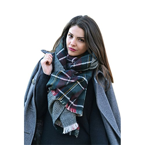Moxeay Womens Blanket Oversized Tartan Scarf Wrap Shawl Cozy Checked Pashmina (M828)