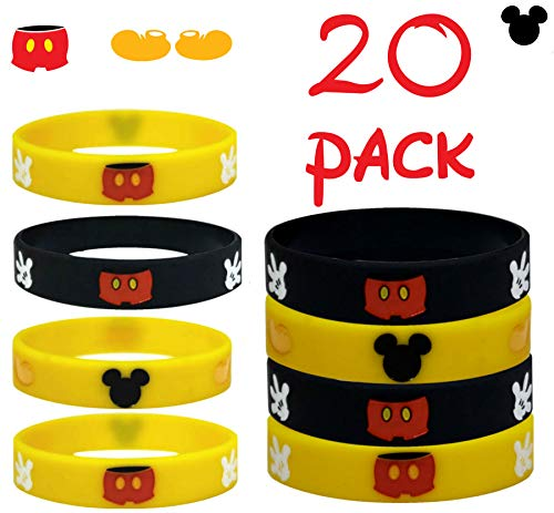 20 pc (K) Party Favors Mickey Mouse Wristband, Party Supplies, Gift, Goodie Bag Stuffer/Size Adult and Kids. (M.Mouse, - Treat Bags Mickeys Clubhouse