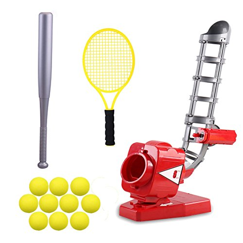 Delightry Electronic Adjustable Baseball Pitching Machine for Kids, Outdoors Game Set - Includes 24 Inch Bat, 16 Inch Tennis Racket and 10 Baseballs by Delightry