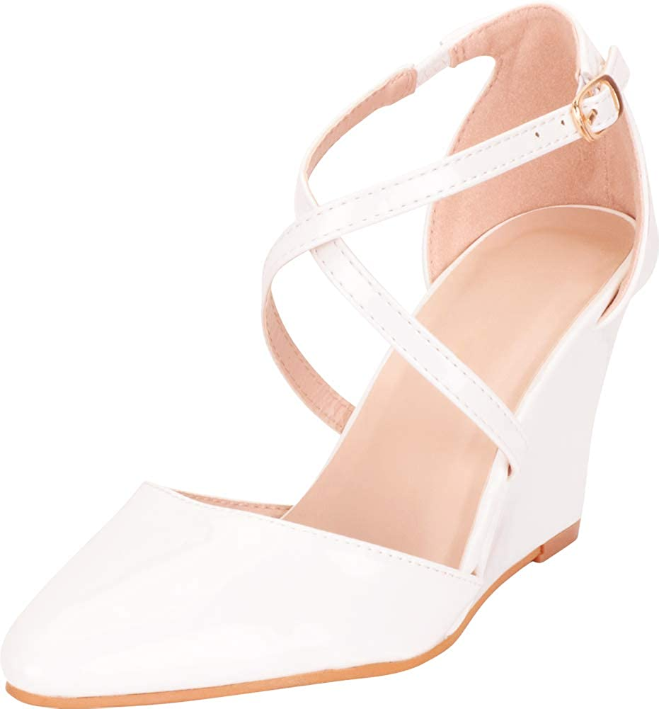 White Patent Pu Cambridge Select Women's Pointed Toe Crisscross Strappy Dress Wedge