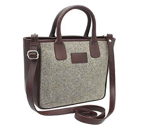 728 Mala Grab Abertweed Navy 40 Herringbone Tweed Leather Spot Bag amp; Collection nawqT0aFS