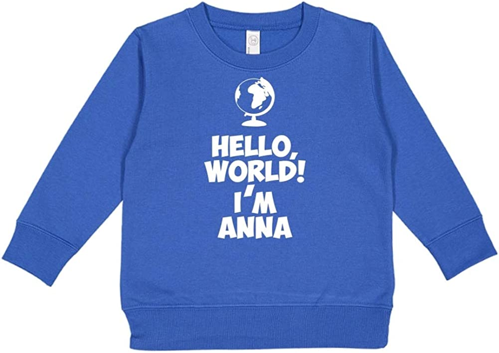 Mashed Clothing Hello Personalized Name Toddler//Kids Sweatshirt Im Anna World
