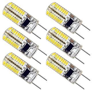 ZEEFO G8 LED Bulbs, Dimmable 110V-130V 3W Warm White 3000K, 64 X 3014 SMD Energy Saving Light Bulbs (20W-25W Halogen G8 Led Bulb Equivalent) for Light Fitting, Under Counter Kitchen Lighting (6 Pack)