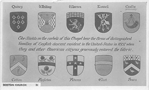 The Shields on the corbels of the Chapel Boston Church Boston Massachusetts Postcard
