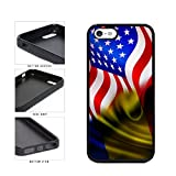 BleuReign(TM) Romania And USA Mixed Flag TPU RUBBER Phone Case Back Cover Apple iPhone 5 5s and iPhone SE