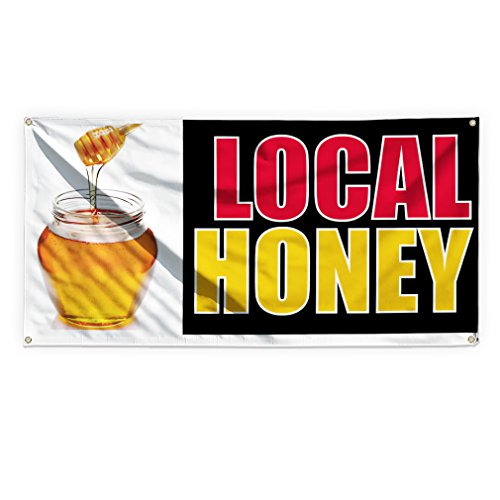 Local Honey #1 Outdoor Advertising Printing Vinyl Banner Sign With Grommets - 4ftx8ft, 8 Grommets by Sign Destination