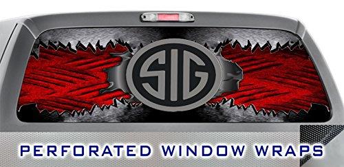 ITI Global Designs SIG SAUER 004 WINDOW WRAP : Hunting Pistol Rifle Guns Red Metal Scratch : Truck CAR Decal Sticker ()