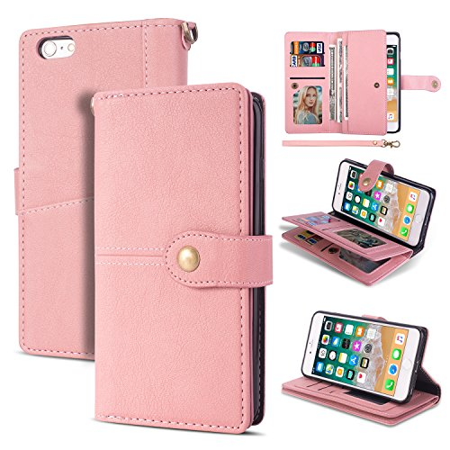 Black Friday Deals Cyber Monday Deals-iPhone 6s Plus Case, iPhone 6Plus Wallet Case,Flip Leather Credit Card Holder Cash Pockets Wristlet Protective Case for iPhone 6s Plus/6Plus 5.5inch (Pink)]()