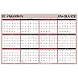AT-A-GLANCE 2019 Quarterly Wall Calendar / Wall Planner, 36'' x 24'', Large, Erasable, Dry Erase, Reversible, Vertical / Horizontal (A123)