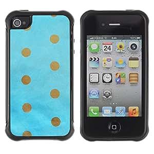 Suave TPU GEL Carcasa Funda Silicona Blando Estuche Caso de protección (para) Apple Iphone 4 / 4S / CECELL Phone case / / Dot Gold Brown Baby Blue Minimalist /