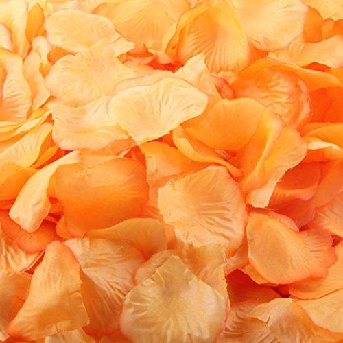 Sandistore 1000pcs Silk Rose Artificial Petals Wedding Party Flower Favors Decor (10000, Orange)