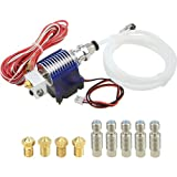 WGCD V6 J-Head Hotend Full Kit Including 5 Pcs Extruder Brass Print Head and 5 Pcs Stainless Steel Nozzle Throat for RepRap 3D Printers