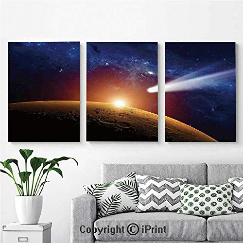 - Modern Salon Theme Mural Comet Tail Approaching Planet Mars Fantastic Star Cosmos Dark Solar System Scenery Painting Canvas Wall Art for Home Decor 24x36inches 3pcs/Set, Bue Orange