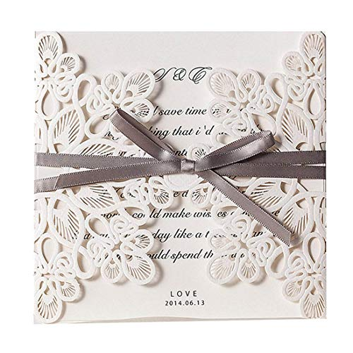 JOFANZA 50PCS Square Flower Lace Wedding Invitation Cards Kit Laser Cut Invitations with Envelopes Elegant Wedding Invites Bowknot Celebrate Marriage Engagement Bridal Baby Shower Quinceanera Quince