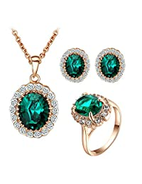 Yoursfs Vintage Jewelry Set CZ Halo Necklace Ring Earrings Fashion Costume Jewelry for Women