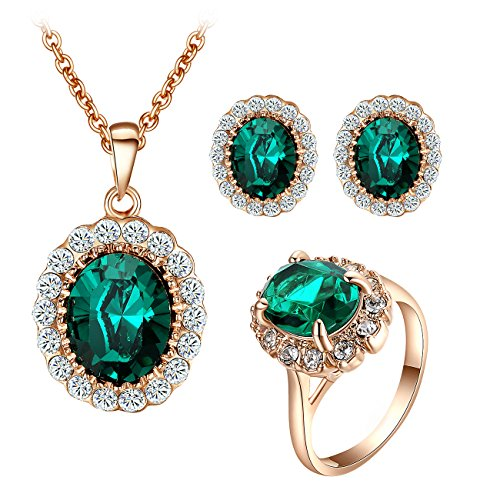 Yoursfs Kate Middleton Jewelry Set Dark Green Crystal Halo CZ Necklace & Earrings & Rings Set Mothers gift - Dress Ring Designs