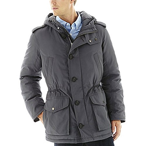 Liz Claiborne Hooded Parka Grey (Charcoal) Mens Size L