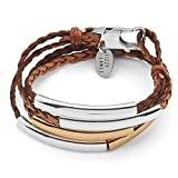 Lizzy James Mini Addison Braided Leather Wrap Bracelet Gold Silver in Natural Antique Brown Leather (SMALL)